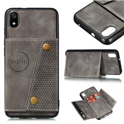 Retro Multifunction Card Slots Stand Leather Coated Phone Back Cover for Mi Xiaomi Redmi 7A - Gray