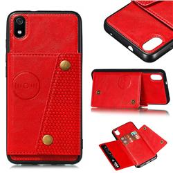 Retro Multifunction Card Slots Stand Leather Coated Phone Back Cover for Mi Xiaomi Redmi 7A - Red