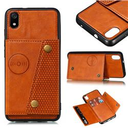 Retro Multifunction Card Slots Stand Leather Coated Phone Back Cover for Mi Xiaomi Redmi 7A - Brown