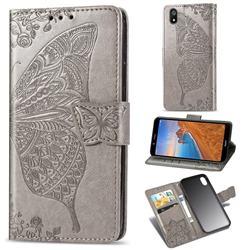 Embossing Mandala Flower Butterfly Leather Wallet Case for Mi Xiaomi Redmi 7A - Gray