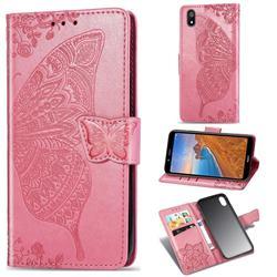Embossing Mandala Flower Butterfly Leather Wallet Case for Mi Xiaomi Redmi 7A - Pink