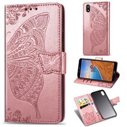 Embossing Mandala Flower Butterfly Leather Wallet Case for Mi Xiaomi Redmi 7A - Rose Gold