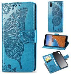 Embossing Mandala Flower Butterfly Leather Wallet Case for Mi Xiaomi Redmi 7A - Blue