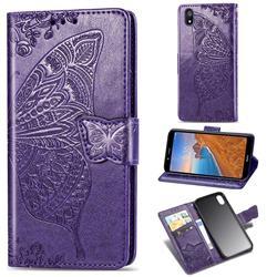 Embossing Mandala Flower Butterfly Leather Wallet Case for Mi Xiaomi Redmi 7A - Dark Purple