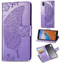 Embossing Mandala Flower Butterfly Leather Wallet Case for Mi Xiaomi Redmi 7A - Light Purple