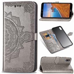 Embossing Imprint Mandala Flower Leather Wallet Case for Mi Xiaomi Redmi 7A - Gray