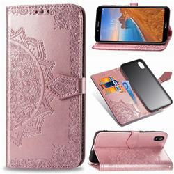 Embossing Imprint Mandala Flower Leather Wallet Case for Mi Xiaomi Redmi 7A - Rose Gold