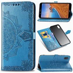 Embossing Imprint Mandala Flower Leather Wallet Case for Mi Xiaomi Redmi 7A - Blue