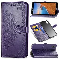Embossing Imprint Mandala Flower Leather Wallet Case for Mi Xiaomi Redmi 7A - Purple