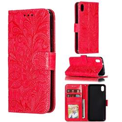 Intricate Embossing Lace Jasmine Flower Leather Wallet Case for Mi Xiaomi Redmi 7A - Red