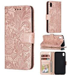 Intricate Embossing Lace Jasmine Flower Leather Wallet Case for Mi Xiaomi Redmi 7A - Rose Gold