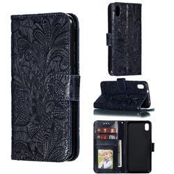 Intricate Embossing Lace Jasmine Flower Leather Wallet Case for Mi Xiaomi Redmi 7A - Dark Blue
