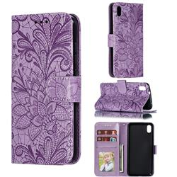Intricate Embossing Lace Jasmine Flower Leather Wallet Case for Mi Xiaomi Redmi 7A - Purple
