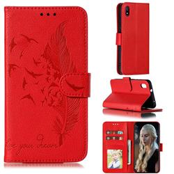 Intricate Embossing Lychee Feather Bird Leather Wallet Case for Mi Xiaomi Redmi 7A - Red