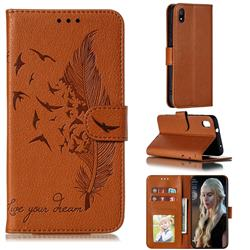 Intricate Embossing Lychee Feather Bird Leather Wallet Case for Mi Xiaomi Redmi 7A - Brown