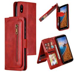Multifunction 9 Cards Leather Zipper Wallet Phone Case for Mi Xiaomi Redmi 7A - Red