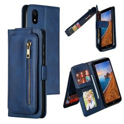 Multifunction 9 Cards Leather Zipper Wallet Phone Case for Mi Xiaomi Redmi 7A - Blue