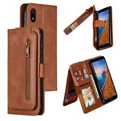 Multifunction 9 Cards Leather Zipper Wallet Phone Case for Mi Xiaomi Redmi 7A - Brown
