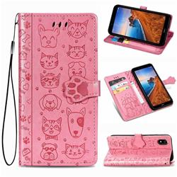 Embossing Dog Paw Kitten and Puppy Leather Wallet Case for Mi Xiaomi Redmi 7A - Pink