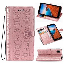 Embossing Dog Paw Kitten and Puppy Leather Wallet Case for Mi Xiaomi Redmi 7A - Rose Gold