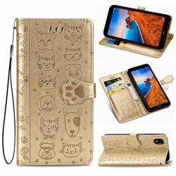 Embossing Dog Paw Kitten and Puppy Leather Wallet Case for Mi Xiaomi Redmi 7A - Champagne Gold