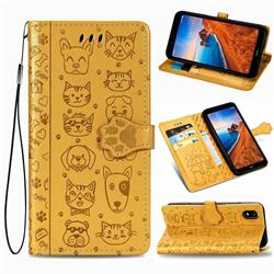 Embossing Dog Paw Kitten and Puppy Leather Wallet Case for Mi Xiaomi Redmi 7A - Yellow