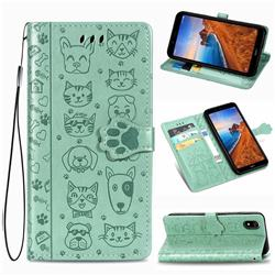Embossing Dog Paw Kitten and Puppy Leather Wallet Case for Mi Xiaomi Redmi 7A - Green