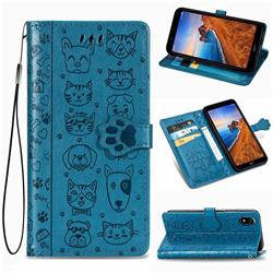 Embossing Dog Paw Kitten and Puppy Leather Wallet Case for Mi Xiaomi Redmi 7A - Blue