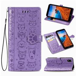 Embossing Dog Paw Kitten and Puppy Leather Wallet Case for Mi Xiaomi Redmi 7A - Purple