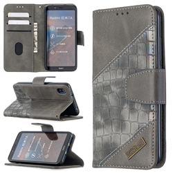 BinfenColor BF04 Color Block Stitching Crocodile Leather Case Cover for Mi Xiaomi Redmi 7A - Gray