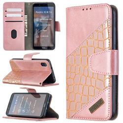 BinfenColor BF04 Color Block Stitching Crocodile Leather Case Cover for Mi Xiaomi Redmi 7A - Rose Gold