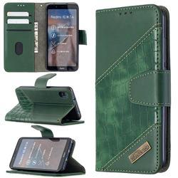 BinfenColor BF04 Color Block Stitching Crocodile Leather Case Cover for Mi Xiaomi Redmi 7A - Green