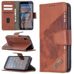 BinfenColor BF04 Color Block Stitching Crocodile Leather Case Cover for Mi Xiaomi Redmi 7A - Brown
