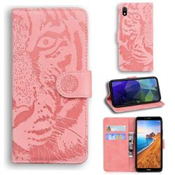 Intricate Embossing Tiger Face Leather Wallet Case for Mi Xiaomi Redmi 7A - Pink