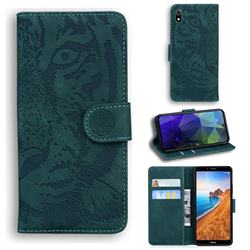 Intricate Embossing Tiger Face Leather Wallet Case for Mi Xiaomi Redmi 7A - Green