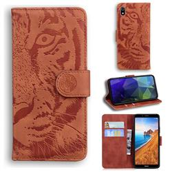 Intricate Embossing Tiger Face Leather Wallet Case for Mi Xiaomi Redmi 7A - Brown