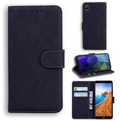 Retro Classic Skin Feel Leather Wallet Phone Case for Mi Xiaomi Redmi 7A - Black