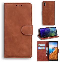 Retro Classic Skin Feel Leather Wallet Phone Case for Mi Xiaomi Redmi 7A - Brown
