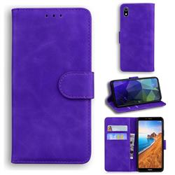 Retro Classic Skin Feel Leather Wallet Phone Case for Mi Xiaomi Redmi 7A - Purple