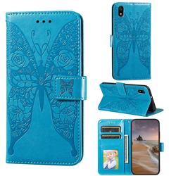 Intricate Embossing Rose Flower Butterfly Leather Wallet Case for Mi Xiaomi Redmi 7A - Blue