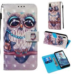 Sweet Gray Owl 3D Painted Leather Wallet Case for Mi Xiaomi Redmi 7A