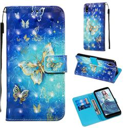 Gold Butterfly 3D Painted Leather Wallet Case for Mi Xiaomi Redmi 7A