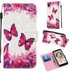Rose Butterfly 3D Painted Leather Wallet Case for Mi Xiaomi Redmi 7A
