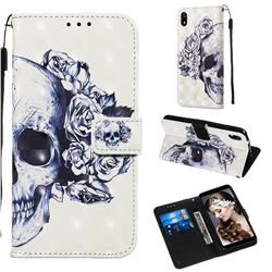 Skull Flower 3D Painted Leather Wallet Case for Mi Xiaomi Redmi 7A