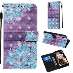 Blue Flower 3D Painted Leather Wallet Case for Mi Xiaomi Redmi 7A
