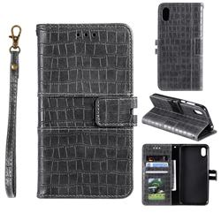Luxury Crocodile Magnetic Leather Wallet Phone Case for Mi Xiaomi Redmi 7A - Gray