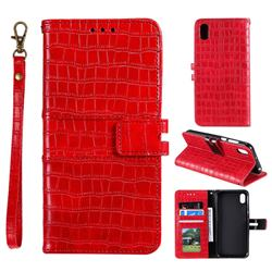 Luxury Crocodile Magnetic Leather Wallet Phone Case for Mi Xiaomi Redmi 7A - Red