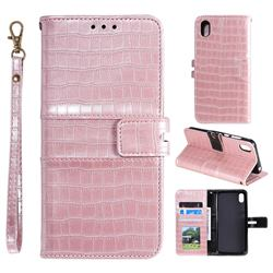 Luxury Crocodile Magnetic Leather Wallet Phone Case for Mi Xiaomi Redmi 7A - Rose Gold
