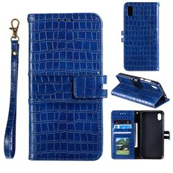 Luxury Crocodile Magnetic Leather Wallet Phone Case for Mi Xiaomi Redmi 7A - Blue