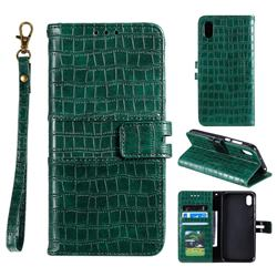 Luxury Crocodile Magnetic Leather Wallet Phone Case for Mi Xiaomi Redmi 7A - Green
